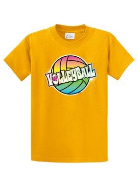 Volleyball Youth T-Shirt Neon Rainbow Volleyball-Lightgrey-yl