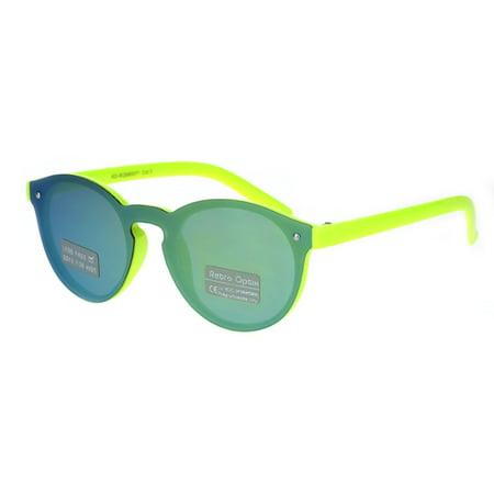 e0e15d86b5 SA106 - Kids Size Unisex Round Keyhole Thin Horn Rim Hipster Sunglasses  Neon Yellow Teal Mirror - Walmart.com