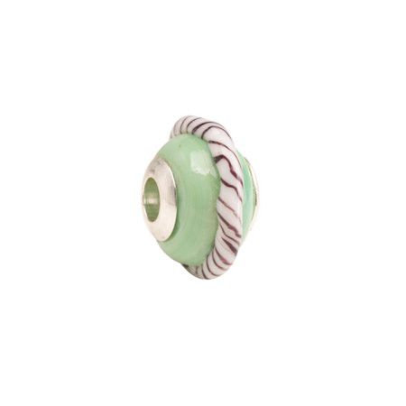 Jade Beauty With Stripe Ring Large Hole Beads Murano Lampwork European Glass Crystal Charms Beads Spacers Fit Pandora Troll Chamilia Carlo Biagi Zable Snake Chain Charm Bracelets 11.5x17.5mm 4pcs ()