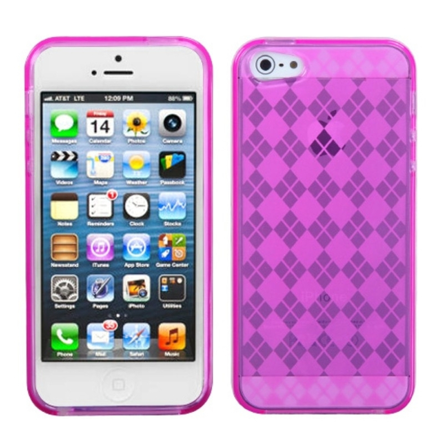 Insten Hot Pink Argyle Candy Skin Case for Apple iPhone SE / 5S / 5