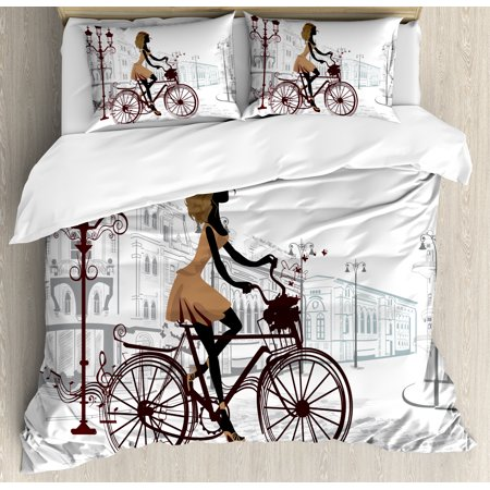 Teen Room Duvet Cover Set, Young Girl in Paris Streets with Bicycle French Style Display, Decorative Bedding Set with Pillow Shams, Chestnut and Pale Brown Pearl, by Ambesonne ()