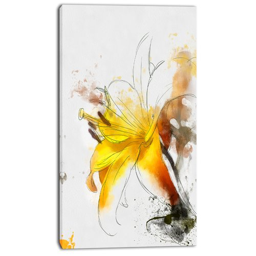Design Art 'Yellow Lily Sketch Watercolor' Painting Print on Wrapped Canvas