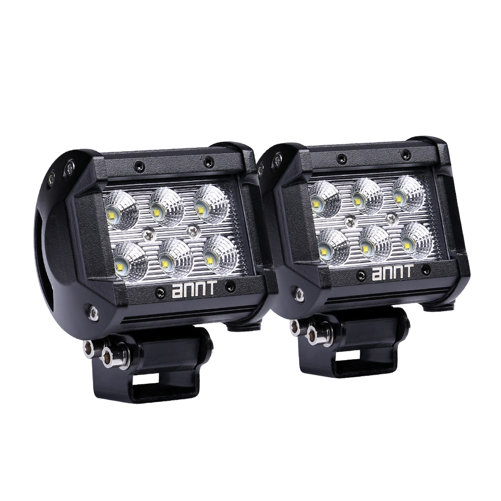 ANNT 2PCS Waterproof 18W Cree LED Work Light 1800lm Off-road Led Light Spot Driving Fog Light Headlight Mounting Bracket for SUV ATV Marine Boat Camping Jeep Cabin Tractor Truck Car UTV