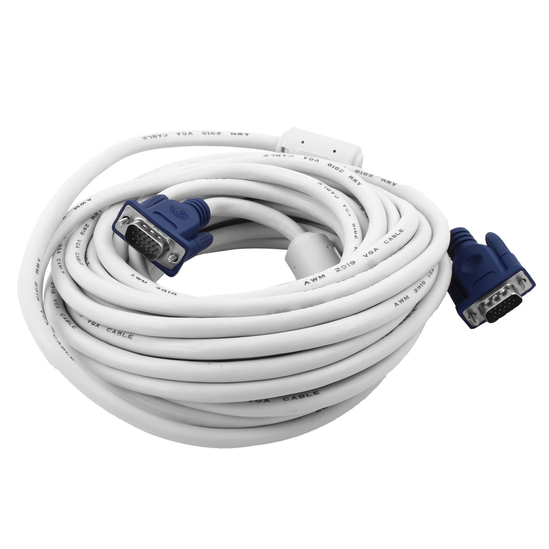 PC Computer Monitor VGA Male to Male Plug Extension Cable White Blue 32.8Ft Long