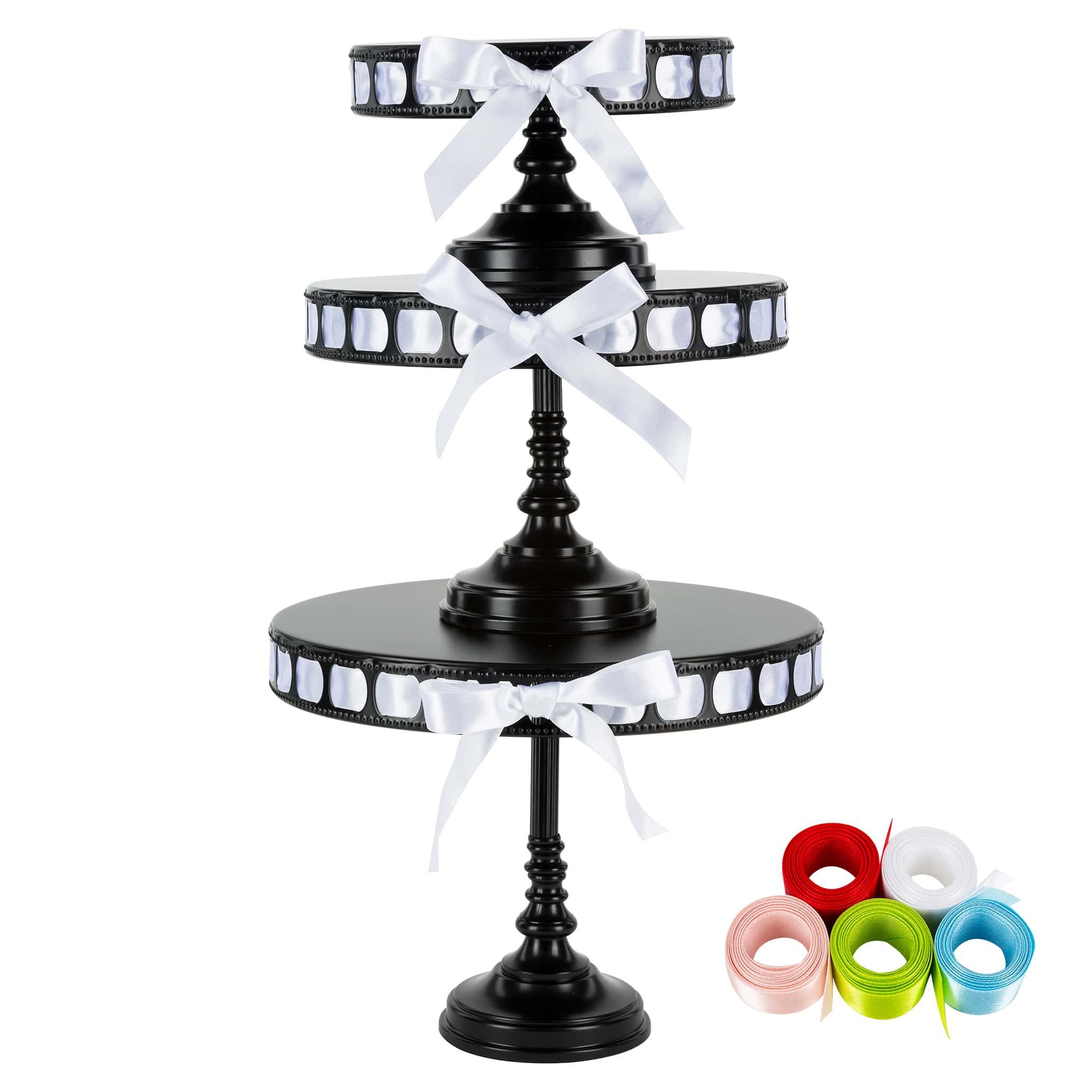 Amalfi Decor 3-Piece Tall Metal Ribbon Cake Stand Set (Black) | Stainless Steel Frame