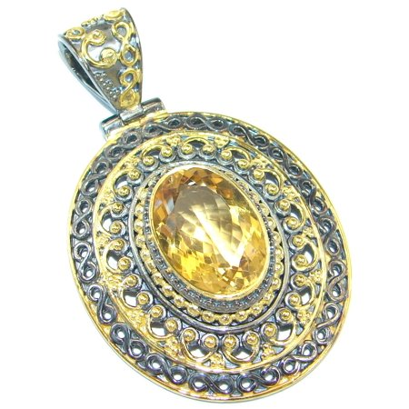 Genuine Citrine Gold plated over Sterling Silver handmade Pendant by SilverRush Style