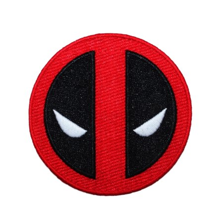 Deadpool Movie Logo Patch Marvel Superhero Character Face Mask Iron-On Applique - Superhero Mask Face Paint