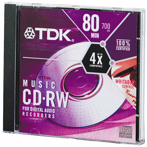 Tdk CDRW80TWNEX Single Cd-r 80 Minute 700mb Minute Write-once Audio Cd