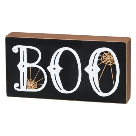 Primitives by Kathy Boo Halloween Box Sign Wall Block Decor - Halloween Run Through Signs