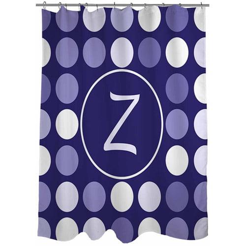 MWW, Inc. Thumbprintz Dots Monogram Shower Curtain, Navy