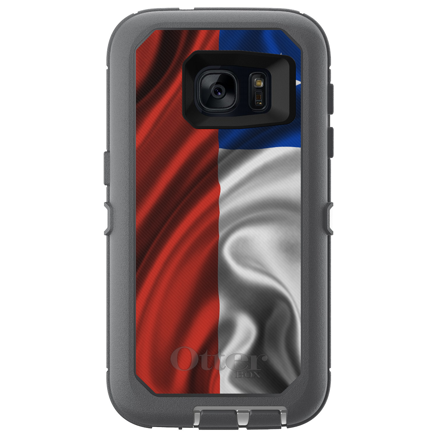 CUSTOM Glacier (Grey / White) OtterBox Defender Series Case for Samsung Galaxy S7 - Chile Waving Flag
