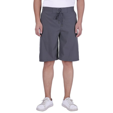 Mens 22 Inch Shorts Charcoal - HDE Men's Casual Fit Hybrid Boardshort Quick Dry Chino Beach Shorts 22 inch Long (Large, Charcoal)