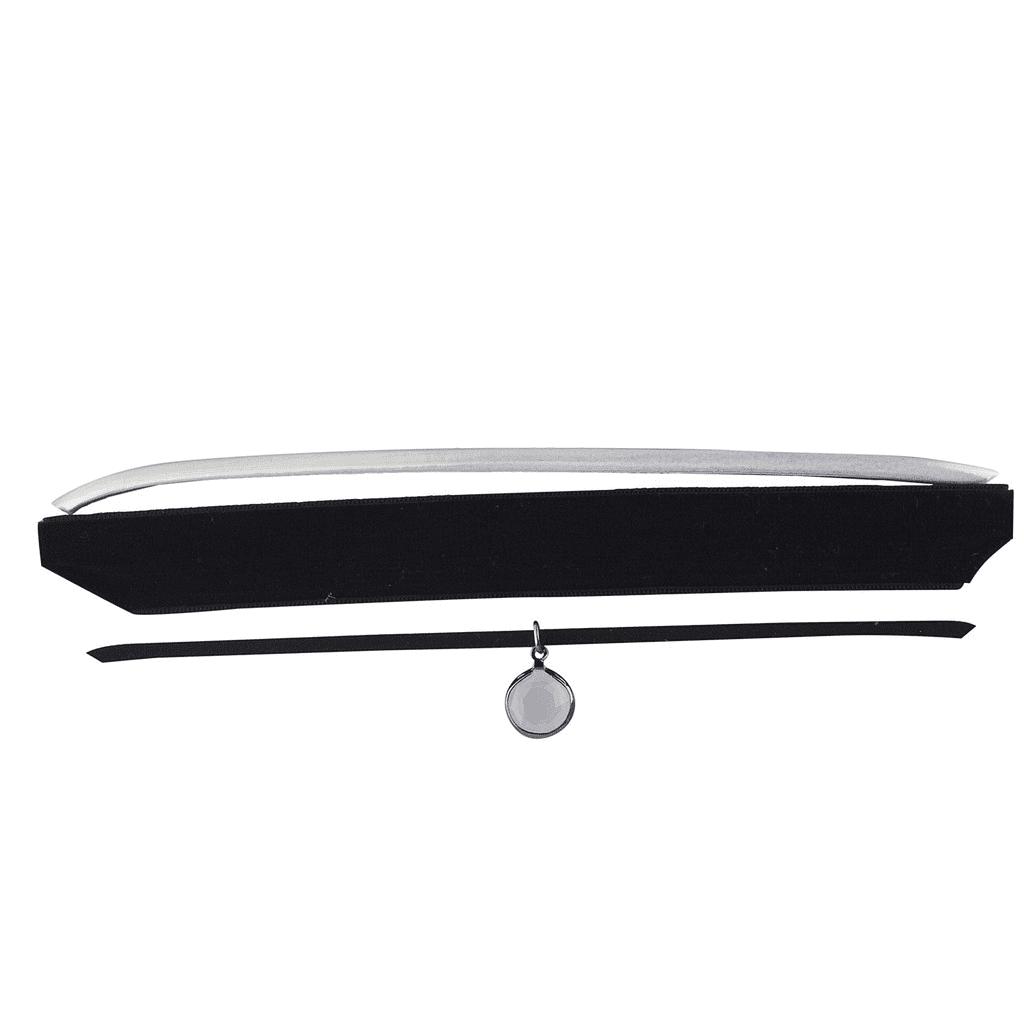 Lux Accessories Silver Iridescent Black Velvet Suede White Opal Choker Set 3PCS by Lux Accessories