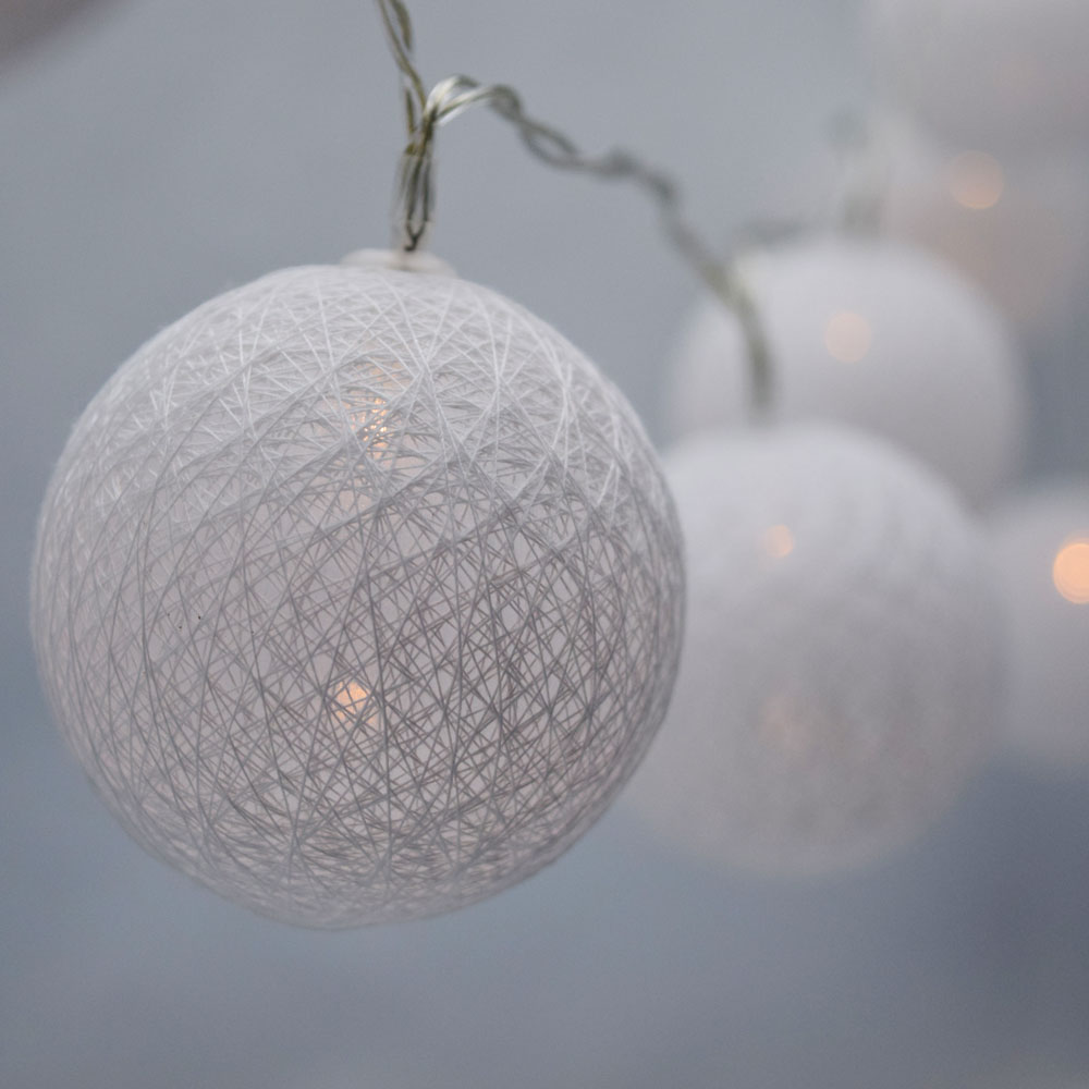 10 LED White Round Texture Cotton Ball String Light, 5.5 FT, Battery Operated by Asian Import Store, Inc.
