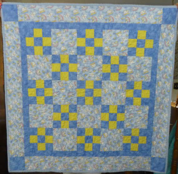 "Baby Boy Quilt~Blue and Yellow~41"" x 41""~Great Shower or Baby Gift"