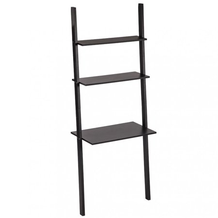 Modern 3-Tiers Ladder Bookshelf Bookcase Leaning Ladder Wall Shelf Storage