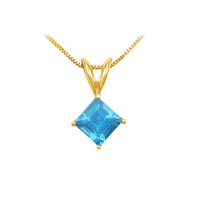 Fine Jewelry Vault UBPDVSQ600BTY Blue Topaz Solitaire Pendant- 14K Yellow Gold - 1. 00 CT TGW