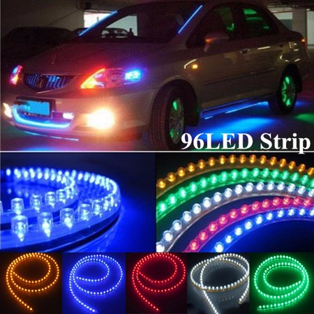 Waterproof 96cm 96 Led Strip Motorcycle Car Lights Flexible Grill Light Dc12v Color Blue Yellow Red White Green