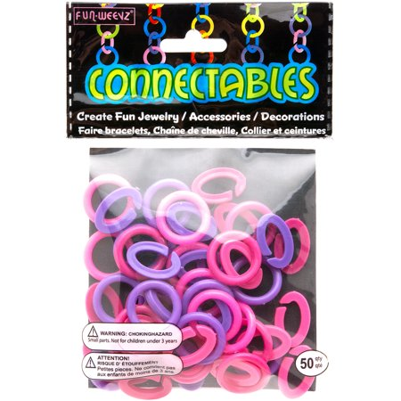 Frogsac Neon Pink Purple and Fuchsia Large Fun Weevz Connectalbes Kit for Bracelets and Necklaces](Neon Bracelets And Necklaces)