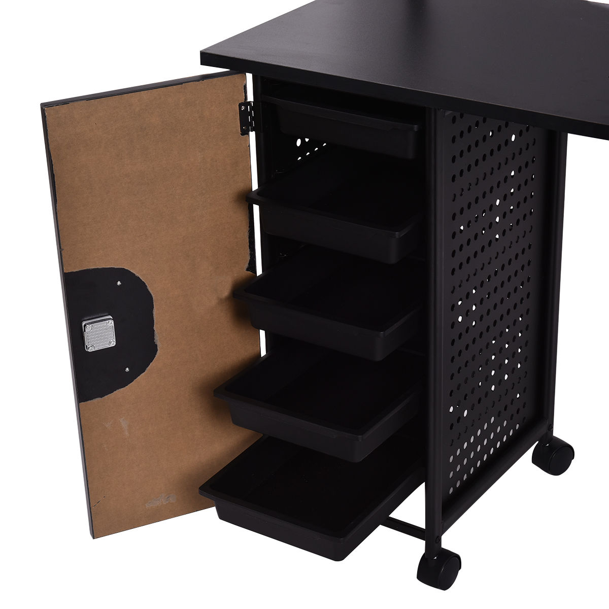 Goplus Manicure Nail Table Station Black Steel Frame Beauty Spa ...
