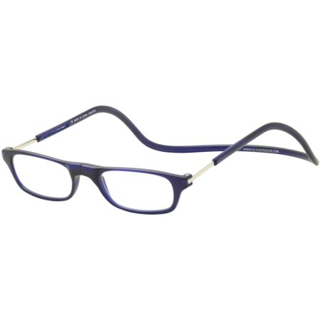Clic Reader Eyeglasses Original Frosted Reflex Dk Blue Magnetic Readers (Clear Frame Readers)