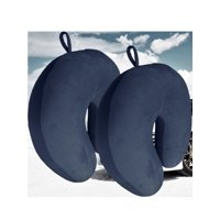 Bookishbunny 2 Pack Ultralight Micro Beads U Shaped Neck Pillow Travel Head Cervical Support Cushion Navy Blue