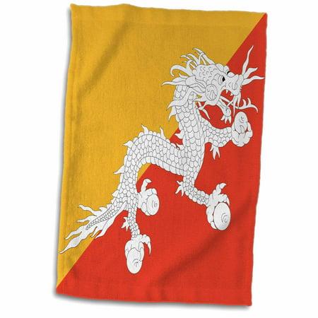 3dRose Flag of Bhutan - Druk Bhutanese Thunder Dragon on orange and gold yellow - Asia - Asian world - Towel, 15 by 22-inch