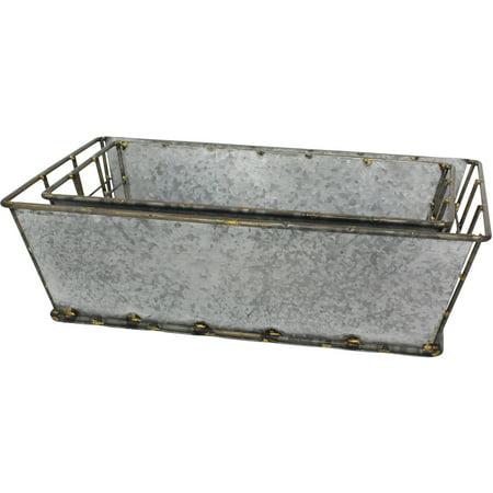 Stonebriar Collectibles Rectangular Antique Galvanized Metal Baskets, Set of 2 ()