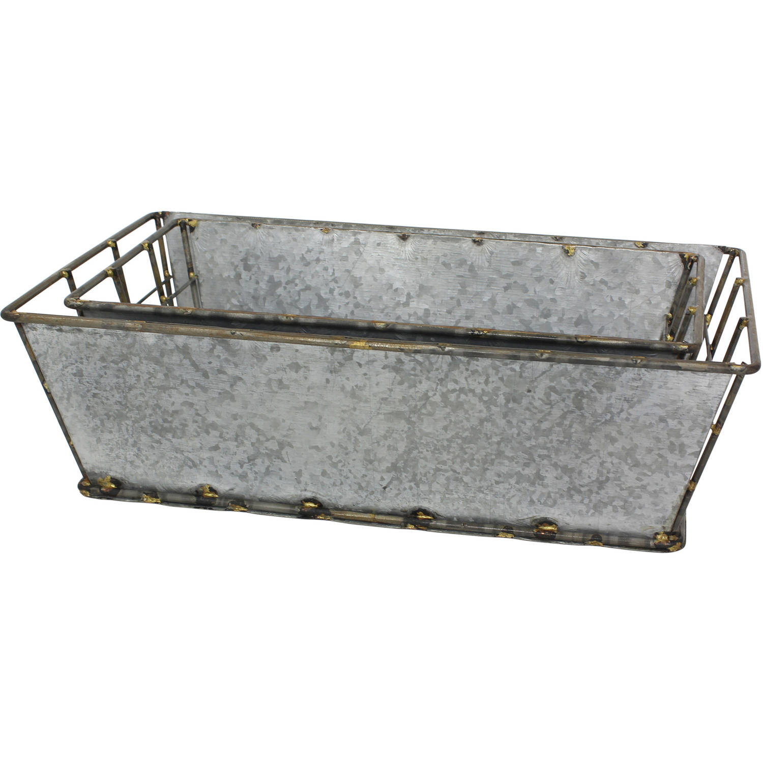 Rectangular Antique Galvanized Metal Baskets, Set of 2