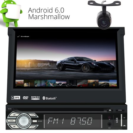 Eincar Android 2GB RAM Car Stereo 1 Din GPS Sat Nav with CD DVD Player and Built-in WIFI Support 3G 4G/Phone Link/Bluetooth/Radio RDS/SWC/USB/SD/Subwoofer/Cam-In/AV OUT /DAB+/OBD2 with Free (Best Built In Car Sat Nav)