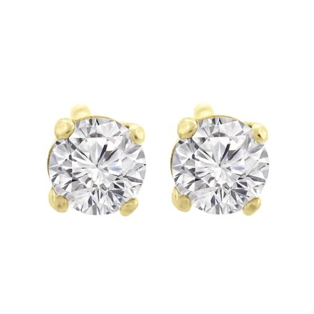 1/10 ct tw Small Four Prong Diamond Stud Earrings 14K Yellow Gold