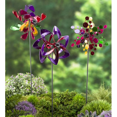 Pinwheel Mini Garden Wind Spinners with Garden Stake, Set of 3, in Multi ()