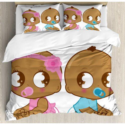 Ambesonne Gender Reveal Decorations Cute African American Baby in Diaper Kids Duvet Cover Set