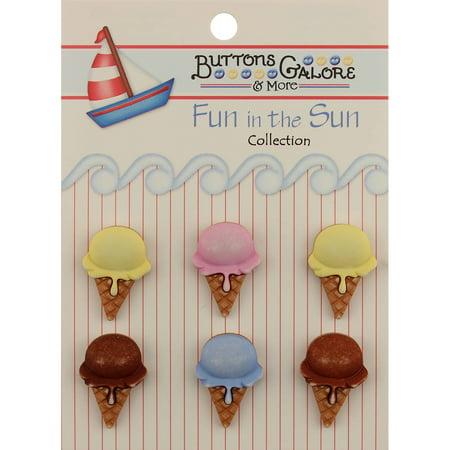 Fun In The Sun Buttons-Ice Cream - Fun Cone