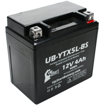 UpStart Battery Replacement 2000 Honda CH80 Elite 80CC Factory Activated, Maintenance Free, Scooter Battery - 12V, 4Ah,