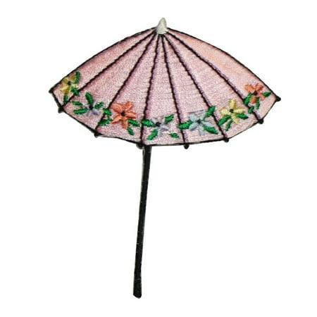 ID 3374A Floral Umbrella Patch Rain Sun Beach Cover Embroidered Iron On Applique