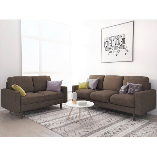 US Pride Furniture Elroy Matte Velvet Fabric 2 Piece Living Room Set, Brown