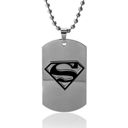 DC Comics Superman Stainless Steel Black Shield Dog Tag Pendant