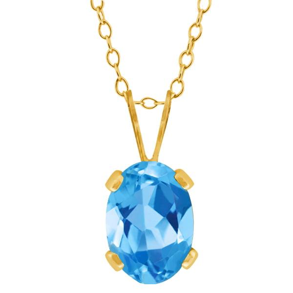 0.80 Ct Oval Shape Swiss Blue Topaz Yellow Gold Plated Brass Pendant