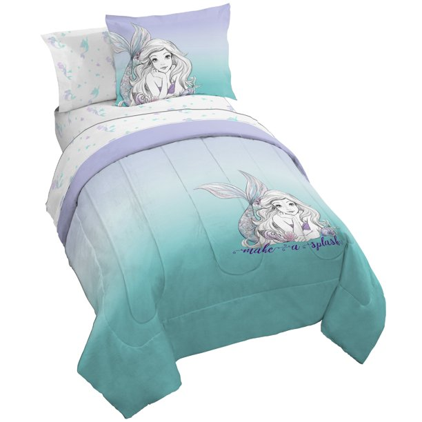 Bag Bedding Set W Reversible Comforter, Teal And Purple Ombre Bedding