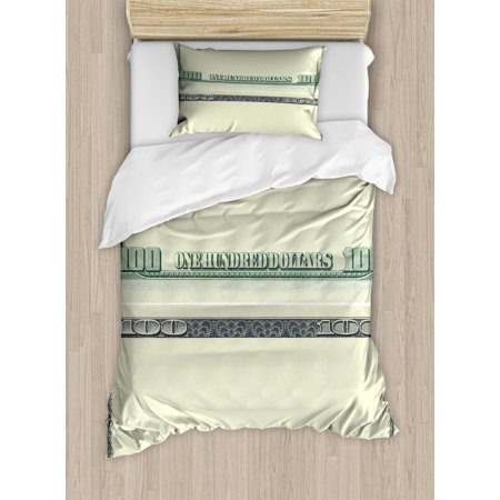 Money Duvet Cover Set, Hundred Dollar Bill Century Note Design American Currency Style Frame Pattern, Decorative Bedding Set with Pillow Shams, Pale Green Grey, by Ambesonne ()