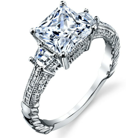 Ring Wright Co. Sterling Silver 925 Vintage 3ct Princess-cut Cubic Zirconia Wedding Engagement Ring Band