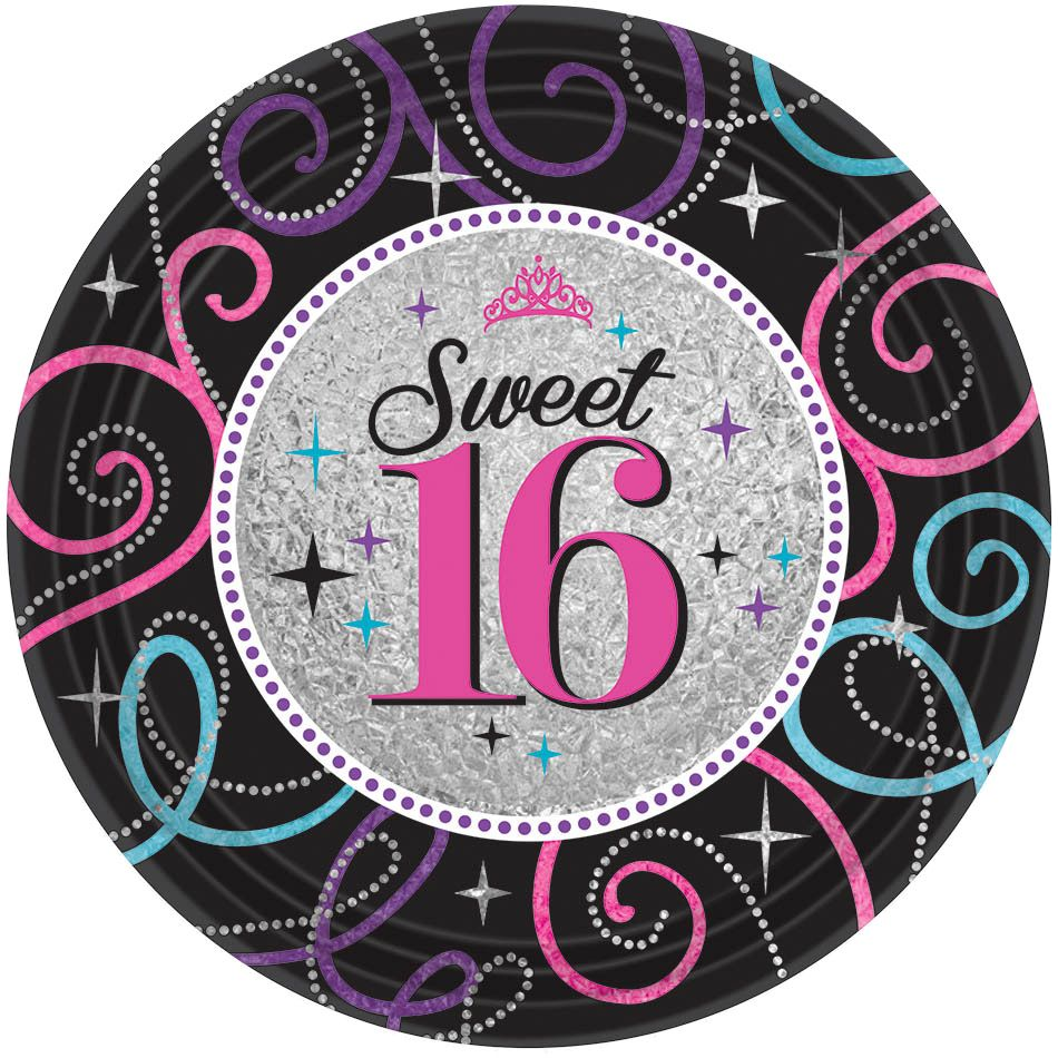 "Sweet 16 Celebration 7"" Cake Plates (8 Pack) - Party Supplies"