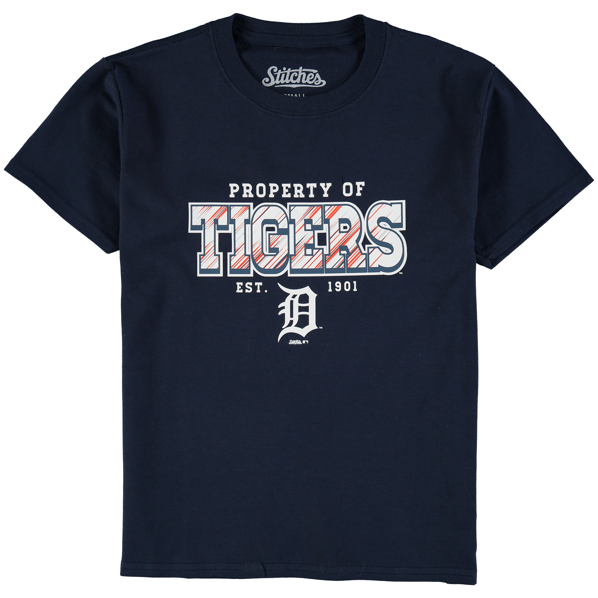 Detroit Tigers Stitches Youth Property Of Team T-Shirt - Navy