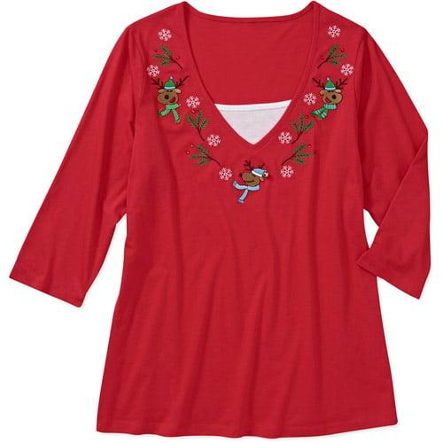 Seasonal Women's Plus-Size Christmas 2fer Knit Top