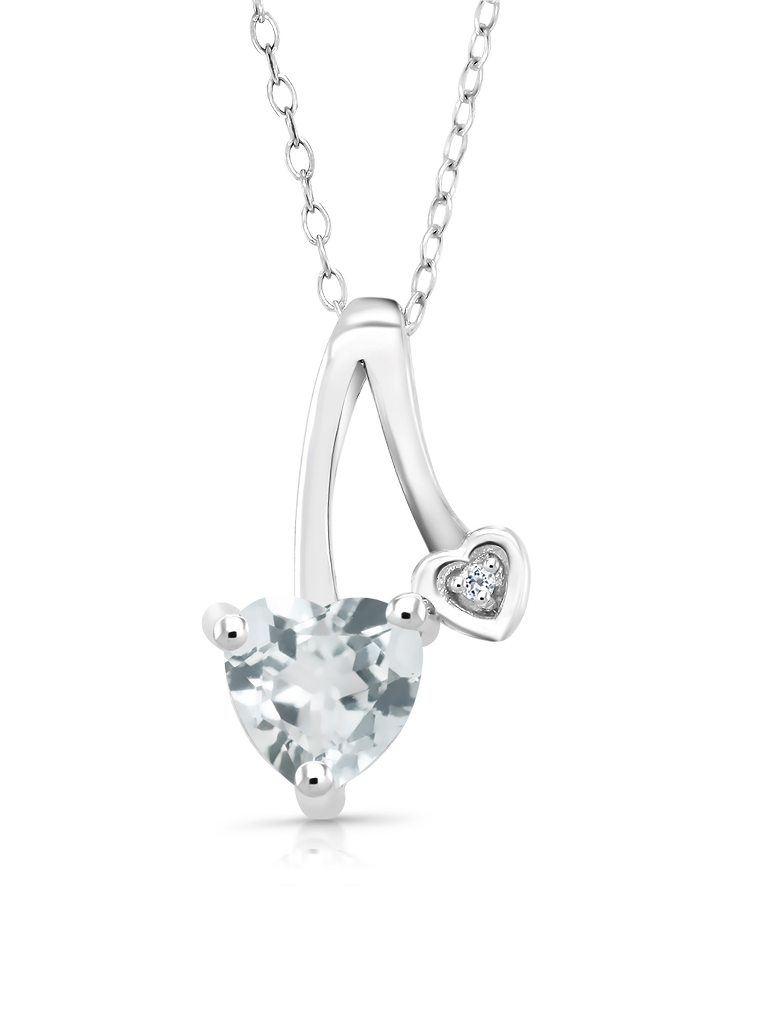 0.68 Ct Heart Shape Sky Blue Aquamarine White Topaz 925 Sterling Silver Pendant by