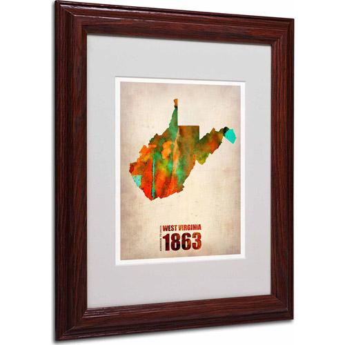 "Trademark Fine Art ""West Virginia Watercolor Map"" Matted Framed Art by Naxart, Wood Frame"