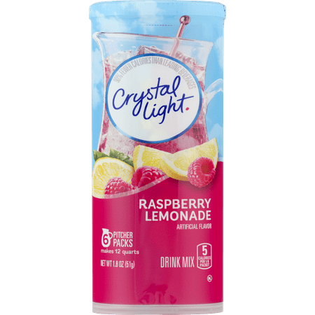 - (6 Pack) Crystal Light Raspberry Lemonade Drink Mix, 6 count Canister