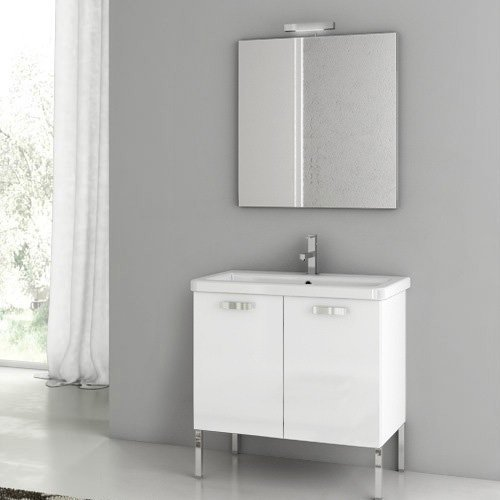 ACF by Nameeks ACF CP02-GW City Play 30-in. Single Bathroom Vanity Set - Glossy White