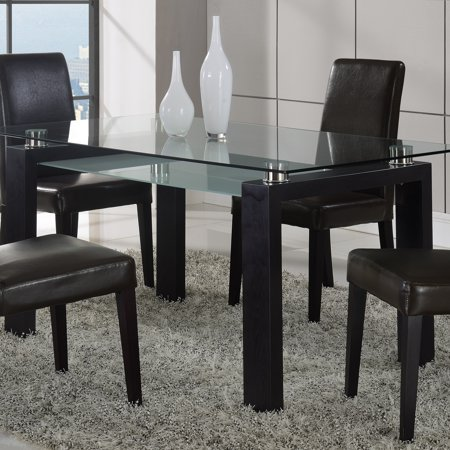 Global furniture frosted glass dining table with black for Frosted glass dining table